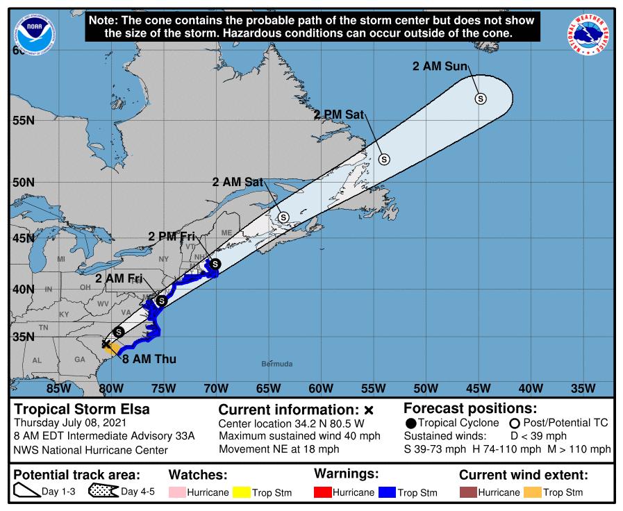 The 8 a.m. Thursday National Hurricane Center advisory for Tropical Storm Elsa.