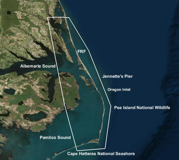 Landfall-specific observations are planned for several locations along the Outer Banks with continual measurements at the Corps' Field Research Facility in Duck.