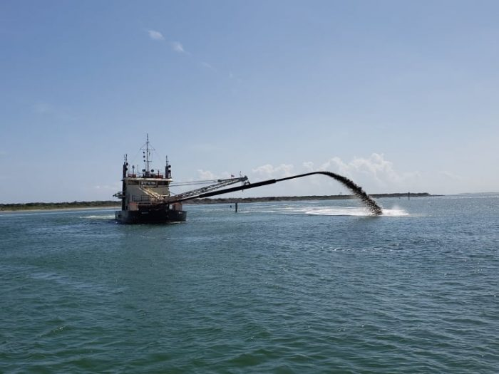 Dredging in Hatteras Inlet in late June. Photo: Island Free Press