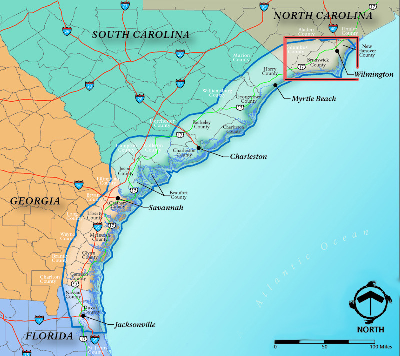 The Gullah/Geechee Cultural Heritage Corridor was designated by the Gullah/Geechee Cultural Heritage Act, passed by Congress Oct. 12, 2006. Map: North Carolina Gullah Geechee Greenway/Blueway Heritage Trail Project