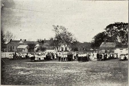 """The """"Episcopal academy"""" was St. Paul's School, an Episcopalian institution in Beaufort, N.C. (shown here ca. 1910 with students and faculty on the school grounds). Photo from Annual Catalog of St. Paul's School, 1909-1910. Special thanks to Mary Warshaw for posting the catalog on her wonderful blog on Beaufort's history."""