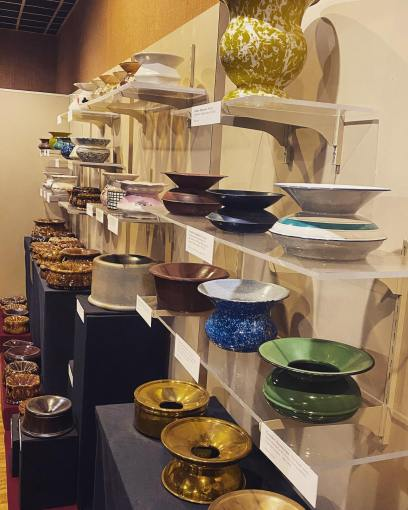 The Duke Homestead State Historic Site in Durham, N.C., has what is believed to be the world's largest collection of spittoons. Many of them are probably a good bit more decorative than the ones that George A. Twiddy had to clean in Elizabeth City when he was starting in the retail business. Photo courtesy, Duke Homestead State Historic Site