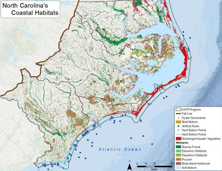 North Carolina's coastal habitats within the Coastal Habitat Protection Plan regions. Map: 2021 draft amendment