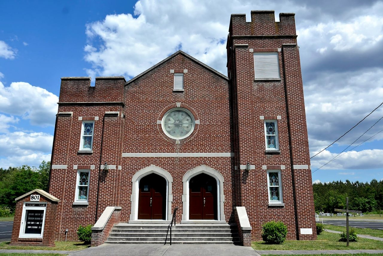 The Pleasant Plains Baptist Church, founded in1851, is one of the oldest Black and multiracial congregations in North Carolina. The brick church, built in1951, replaced the original wooden church. Photo: Contributed