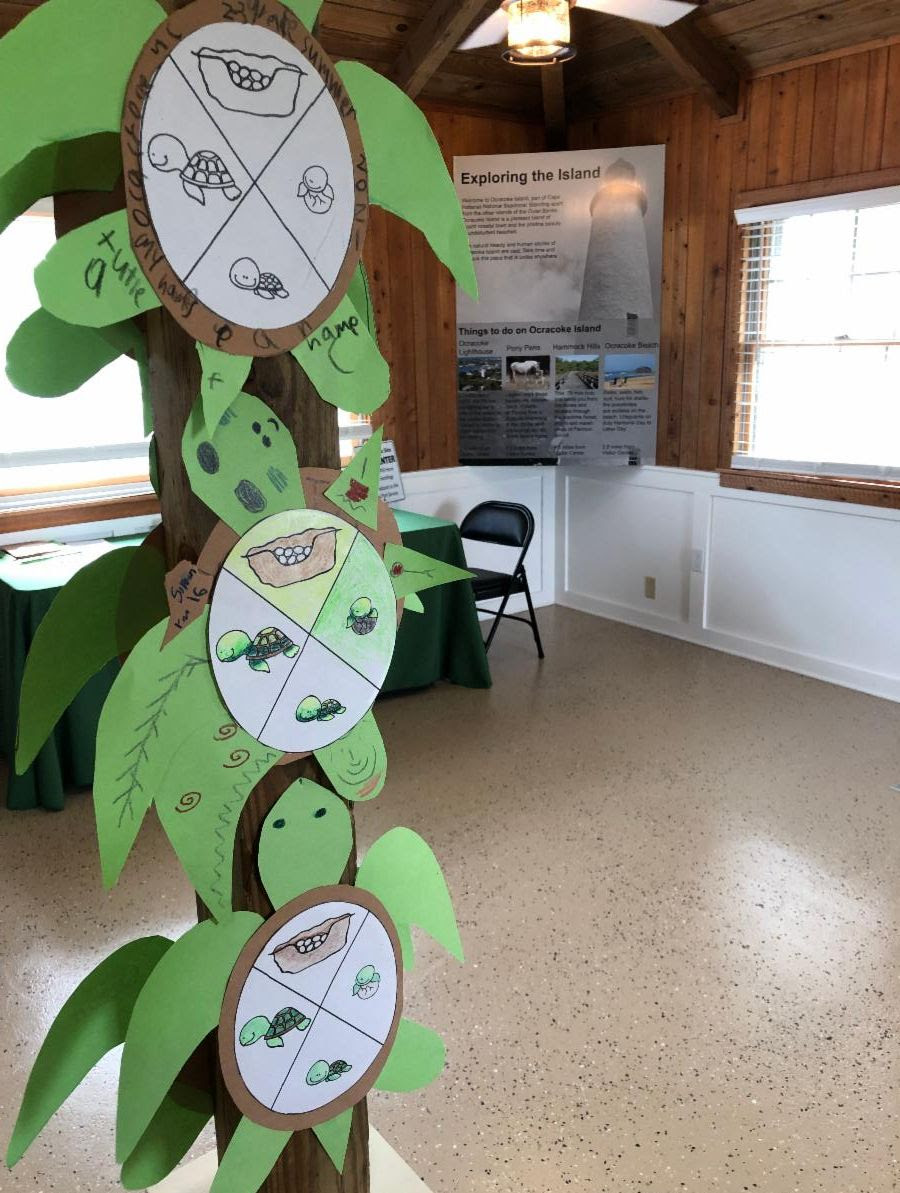 After completing an activity at the activity corner, visitors can display their finished work inside the Discovery Center. Photo: National Park Service