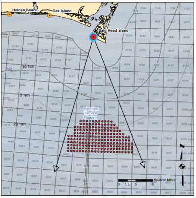 The above photo simulation is based on this diagram's placement of 200 Siemens turbines with a total height to the blade tip of 481 feet at 15 nautical miles offshore. Illustration: BOEM