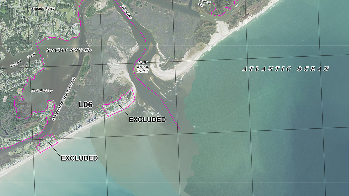The draft map for North Topsail Beach removes about 2 ½ acres from the John H. Chafee Coastal Barrier Resources System. Map: USFWS