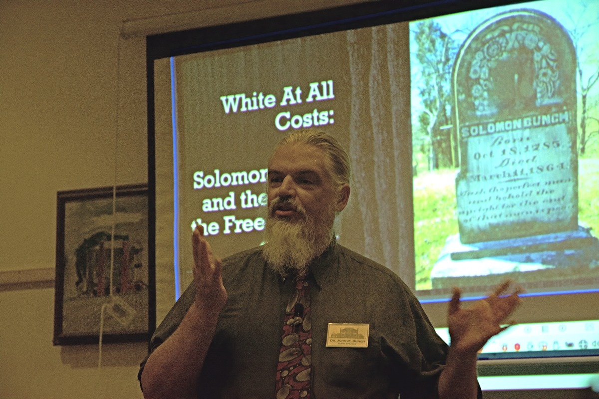 John Bunch discusses his genealogical discoveries Saturday during a family history event at Hope Plantation. Photo: Kip Tabb