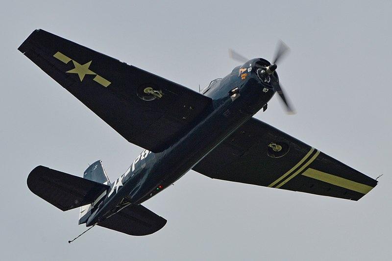 The TBM-3E Avenger Doris Mae departs before taking part in the 2015 Arsenal of Democracy Flyover to celebrate the 70th anniversary of VE Day and the end of World War II at Culpeper Regional Airport, Virginia. Photo: Alan Wilson/Creative Commons