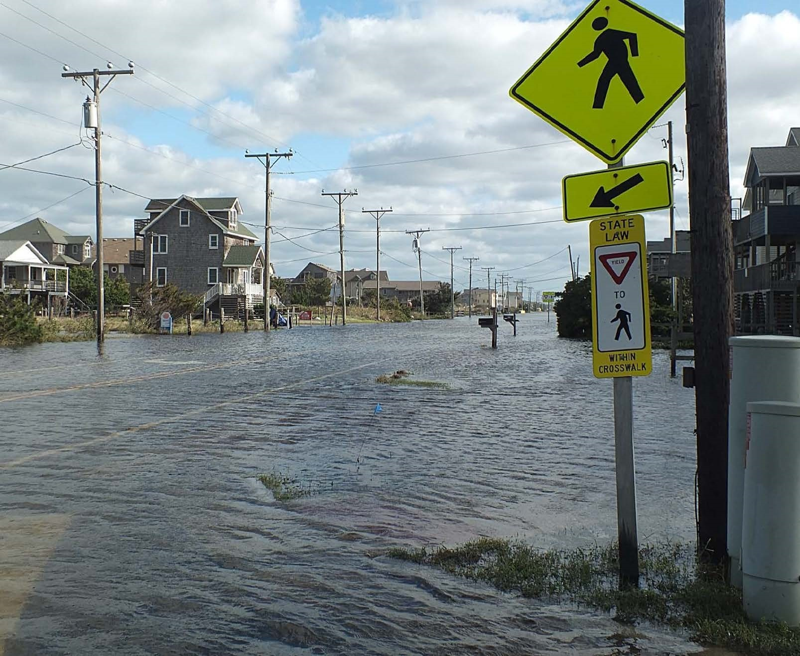 N.C. 12 in Kill Devil Hills floods during Hurricane Matthew, October 2016. Photo: Dare County