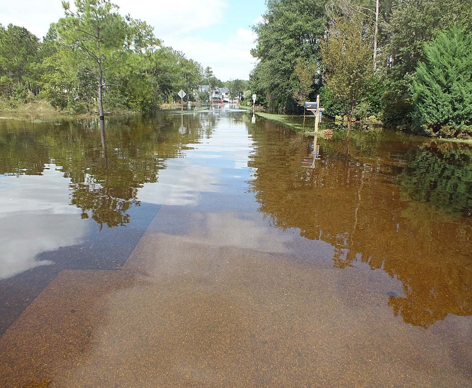 Rainfall from a coastal storm floods homes and businesses built on higher ground in Dare County.  Photo: Dare County