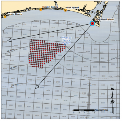The above photo simulation is based on this diagram's placement of 200 Siemens turbines at 10 nautical miles offshore. Illustration: BOEM