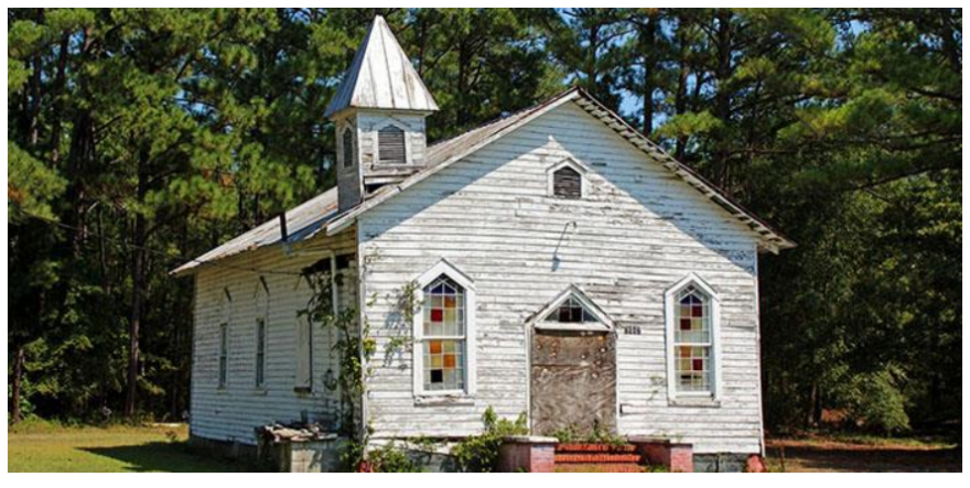Photograph: Historic Reaves Chapel A.M.E. Church in Navassa, a  Gullah Geechee heritage site in active preservation. Photo: Brunswick County NAACP