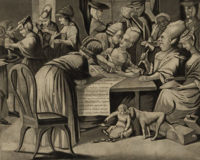 A detail from a London caricatureof the Edenton Tea Party,1775. Source: Library of Congress
