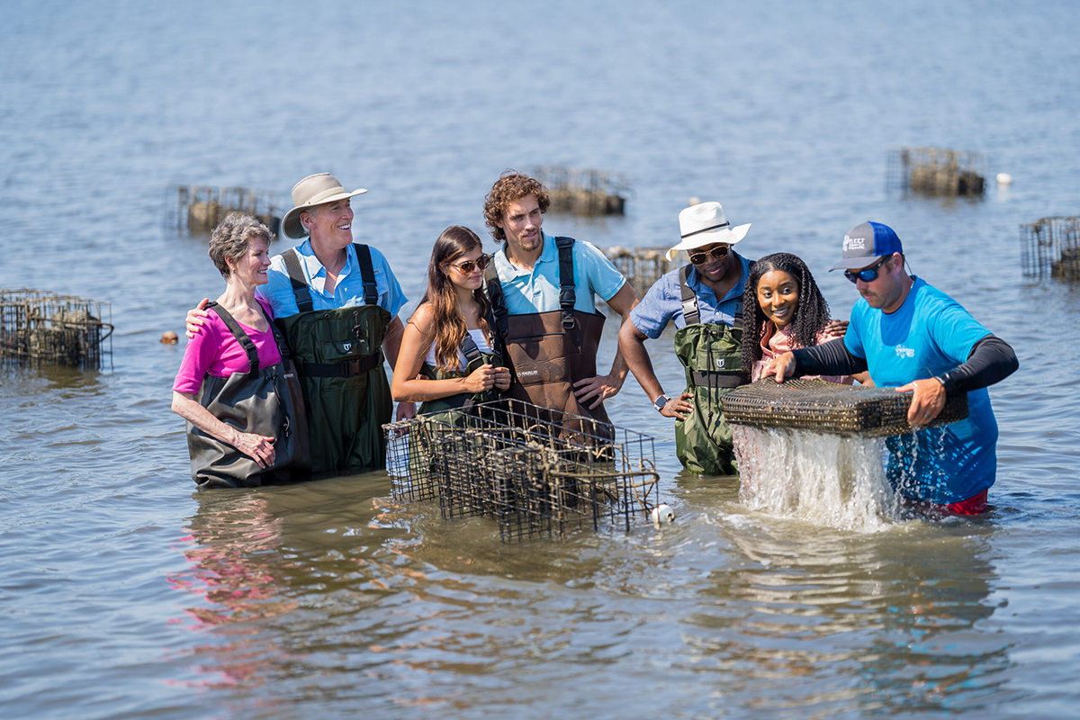 An oyster grower demonstration in Stump Sound. Photo: Justin Kase Conder/North Carolina Sea Grant